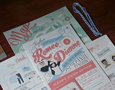 Panda & Penguin's ~ Wedding Invitation