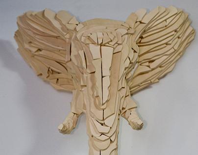 Elephant head, plywood, unique piece