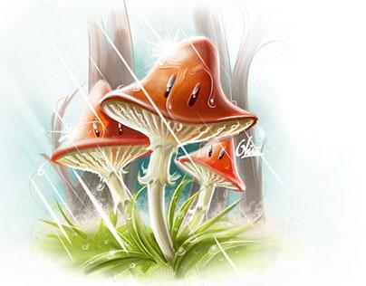Three mushrooms under the rain