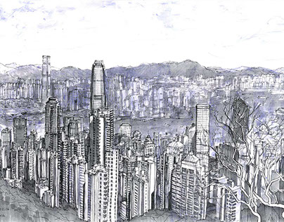 Hong Kong. Plein air (Urban sketch). Evgeny Bondarenko