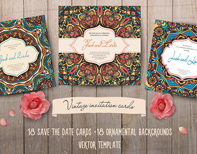 18 vintage invitation cards and ornamental backgrounds