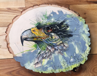 Birds on wood