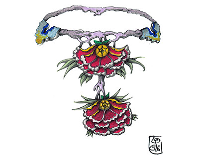 Colored Fantasy Necklace Drawing