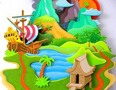 """""""GETAWAY ISLAND"""" (a painted wooden sculpture)"""