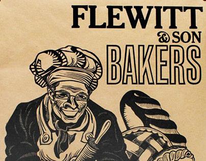 Flewitt & Sons Bakers Poster: linocut and letterpress