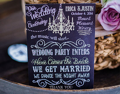{ WEDDING STATIONARY } Chandeliers and Chalkboards
