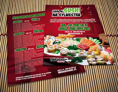 Sylwestrowa ulotka Takushi Sushi