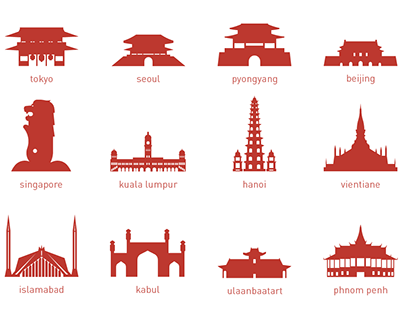 46 Asian Capital Landmarks – Silhouettes