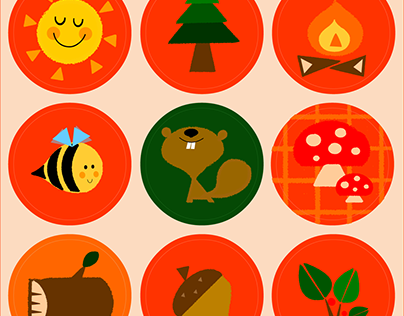 Sticker set - Wood