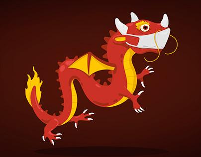 Dragon wearing a mask