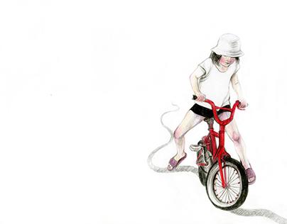 czerwony rowerek.