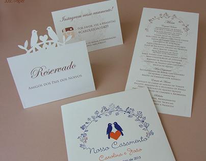 Papelaria casamento Carolina e João - Just Paper