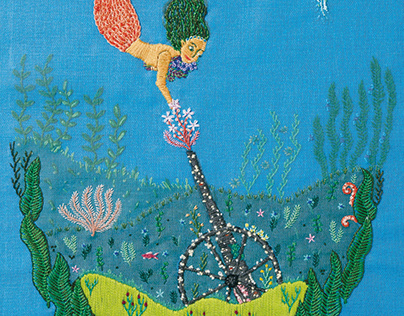Cannon and Mermaid (Embroidered illustration)