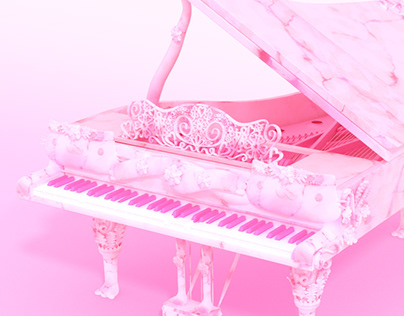 Pink Marble Cat Themed Grand Piano