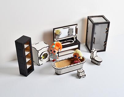 Вathroom plumbing doll LOL furniture - Wood 3D puzzle