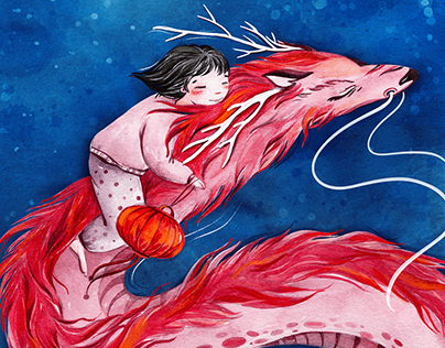 Jan and the Red Dragon. Children's book illustration
