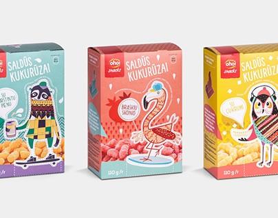 Oho! Snacks SWEET CORN packaging design