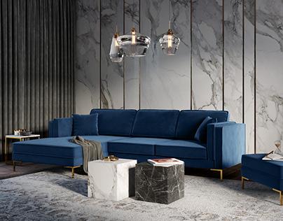 Luis Sofa 3D Model + Interior