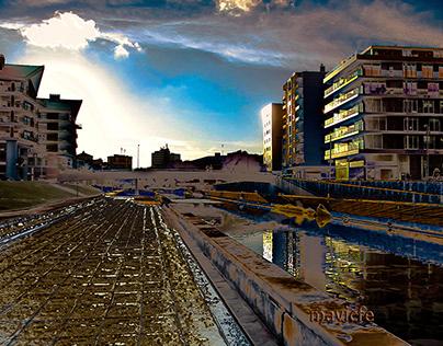 Aveiro Water Canal at Sunset