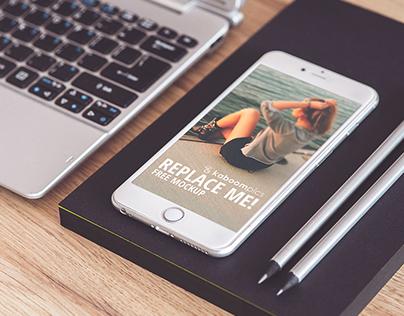 Free Mockup: iPhone 6 Plus on Desk (PSD Smart Object)