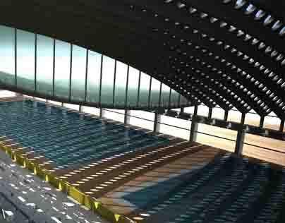Olympic Aquatic Center at a River Port