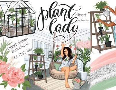 Greenhouse Illustrations, Plant Lady, Fashion Clipart