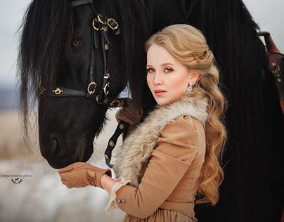 Anastasia and friesian stallion Fidelio