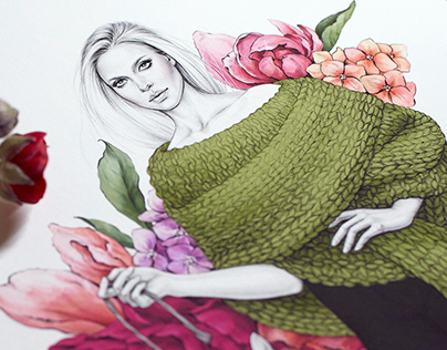 Illustration for knitting brand 'Wrap to Warm'