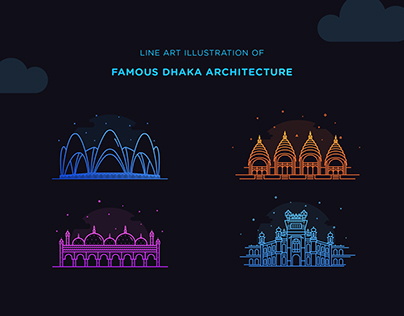Line Art illustration of Dhaka's best Architecture