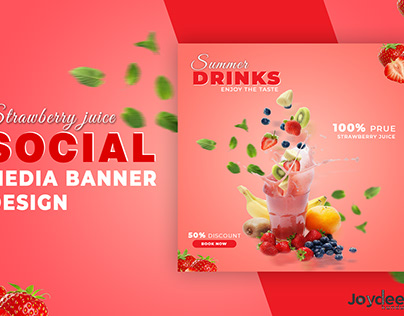 Strawberry juice social media banner