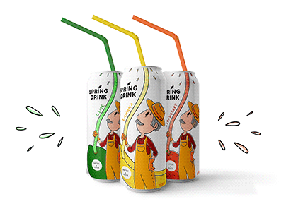 """""""Spring drink"""" character and package development"""