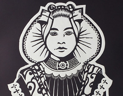 Dutch Maiden - Linocut