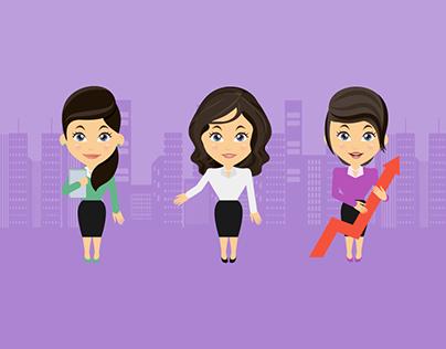 office Female Character Illustration