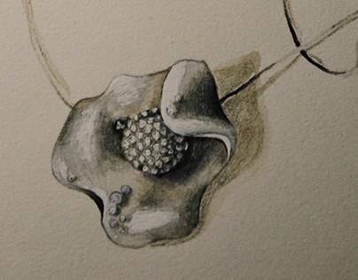 design - reversible flower, jewellery set