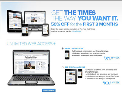New York Times Paywall Ad Designs
