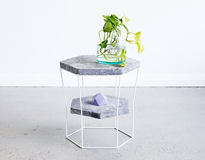 Linzi stool+side-table, Australian cedar+rough concrete