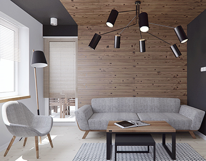 Modern apartment with wood elements
