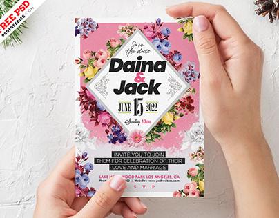 Premium Wedding Invitation Card PSD