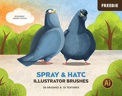 Free Download: Spray & Hatch Illustrator Brushes