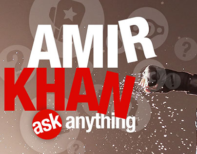 Banners for boxer Amir Khan's Twitter Ask Me Anything