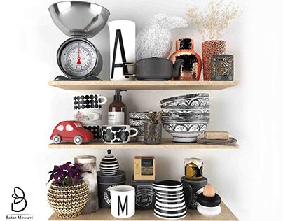 3D model - kitchen decorative set accessories