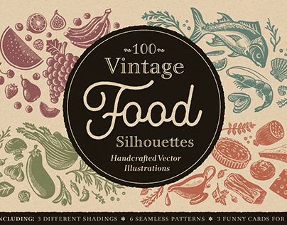 100 Vintage Food Silhouettes