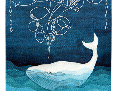 Happy whale. Watercolor illustration.