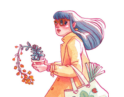 Succulent shopping watercolor