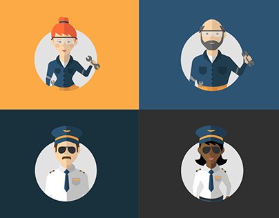 Flight Crew Character Illustrations
