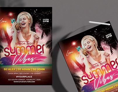Summer Vibes Free PSD Flyer Template