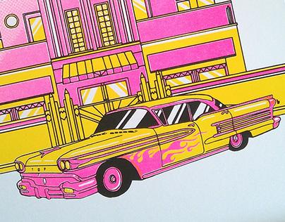 Retro car risograph print