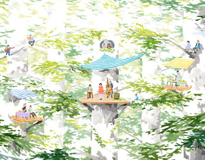 Cafe and Music Festival in forest