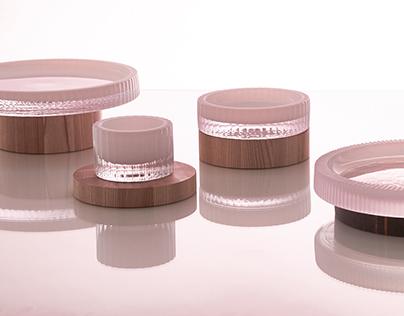 UN/BALANCE bowls hand-blown opal glass,marble,wood