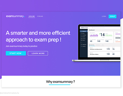 Landing page for elearning website